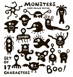 set of funny monster characters vector image