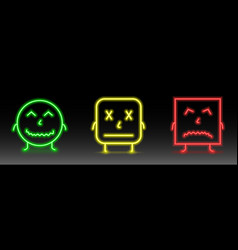 set of neon smile emoticons line icons happy vector image
