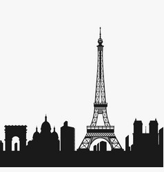 silhouette of the eiffel tower vector image vector image