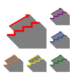 Stair with arrow set of red orange yellow vector