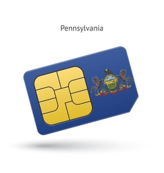 State of pennsylvania phone sim card with flag vector