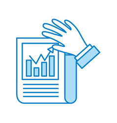 Statistical report with hand vector