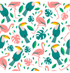 Tropical birds and flowers seamless background vector
