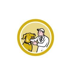 Veterinarian vet kneeling beside pet dog circle vector