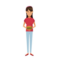 Woman holding burger unhealthy nutrition food vector