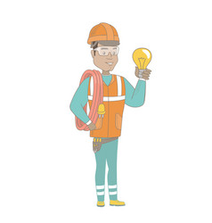Young hispanic electrician holding a lightbulb vector
