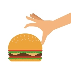 Single hamburger and hand icon vector