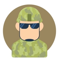 Avatar male soldier icon flat style vector