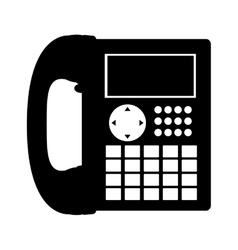 Black silhouette office telephone with wired vector