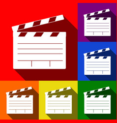 Film clap board cinema sign  set of icons vector