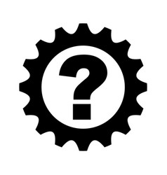 Gear machine with question isolated icon vector