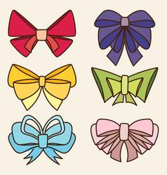 set of various abstract bows and ribbons vector image