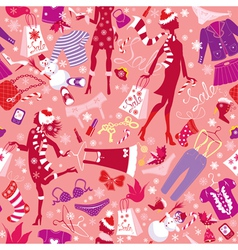 Seamless pattern in pink colors - silhouettes vector