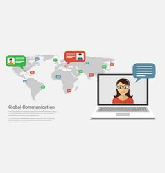 Global communication banner vector