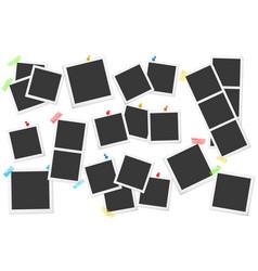 Big set of square photo frames on sticky vector
