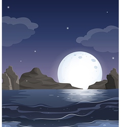 A view of the ocean in the middle of the night vector image