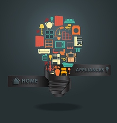 Home appliances icons with creative light bulb ide vector