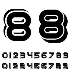 3d black simple numbers font vector