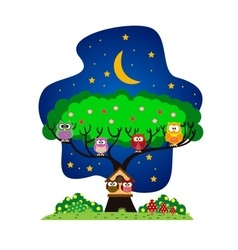 Owls family in the park at night vector image