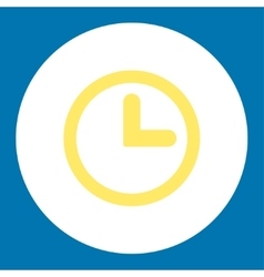 Clock flat yellow and white colors round button vector