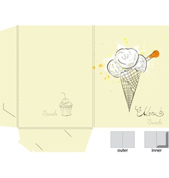 Ice cream folder template vector