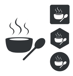 Hot soup icon set monochrome vector