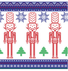 Red blue green nutcracker soldier vector