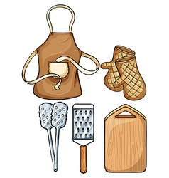 Kitchenware with apron and mittens vector
