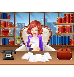 Businesswoman reading documents vector