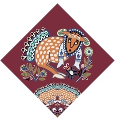 Ukrainian tribal ethnic painting unusual animal vector