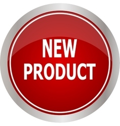 Red round new product button vector