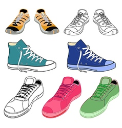 Black outlined colored sneakers shoes set front v vector