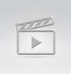 Silver video icon vector