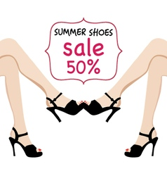 Woman legs in black fashion shoes sale banner vector