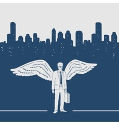 Man in a suit with wings vector