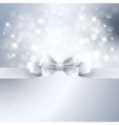 Abstract silver light background with white ribbon vector