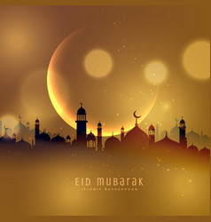 awesome eid festival background in golden theme vector image vector image