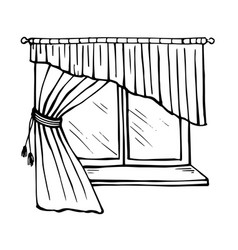 Beautiful window with sill tulle and curtains vector