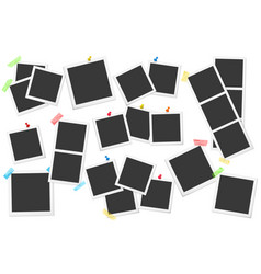 big set of square photo frames on sticky vector image