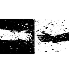 black and white hands vector image