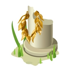 Broken white column and gold olive wreath vector