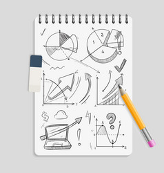 business graphics pencil sketches on realistic vector image