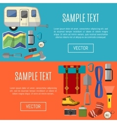 Camping equipment banners symbols and icons vector image vector image
