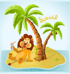 Cartoon lion resting on the island in the summer vector