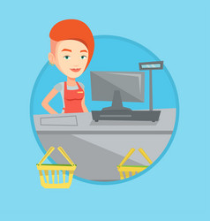 cashier standing at the checkout in supermarket vector image vector image