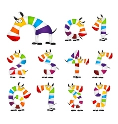 Collection of Numbers Made Of colorful animal vector image vector image