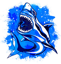 color watercolor aggressive shark with open mouth vector image vector image