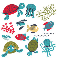 Colorful sea turtles with fish and corals set vector