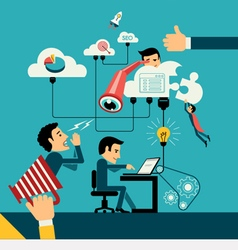 Concept of computer and connected mobile devices vector