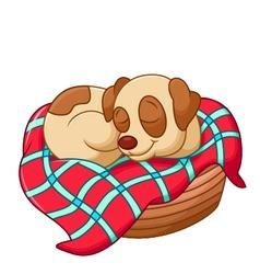 Cute dog cartoon sleeping vector
